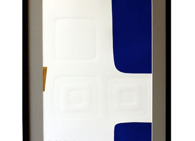 Paintings - Engraving and embossing 45 cm x 60 cm blue - FOUCHER-POIGNANT