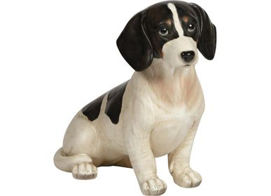 Decorative objects - Black and white sitting dog - CHEHOMA