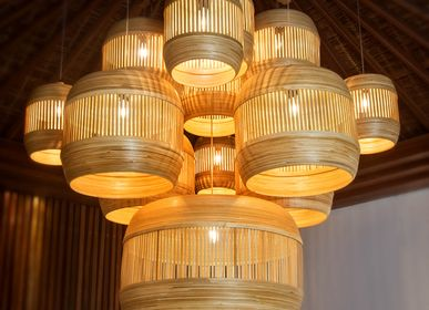 Decorative objects - DESRTOBO handmade pendant lamp with bamboo shade - BAMBUSA BALI