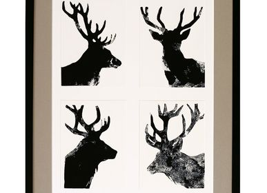 Paintings - monotype engravings 39 cm x 49 cm 4 deer - FOUCHER-POIGNANT