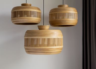 Decorative objects - DESRTOBO handmade hanging lamp with bamboo shade - BAMBUSA BALI