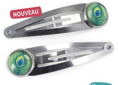 Hair accessories - Hair Clips Les Minis Plume de Paon - LES MINIS D'EMILIE FIALA