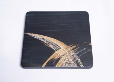 Trays - Indigo and Gold Cedar wood Coaster - AOLA