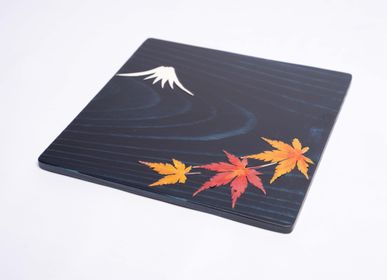 Trays - Indigo Cedar wood  with Mt.Fuji and pressed flower plate (S) - AOLA