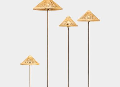 Decorative objects - OBORRO handmade table and floor lamps with bamboo lampshades on bronze stands coated with antique patina, table and floor lights - BAMBUSA BALI