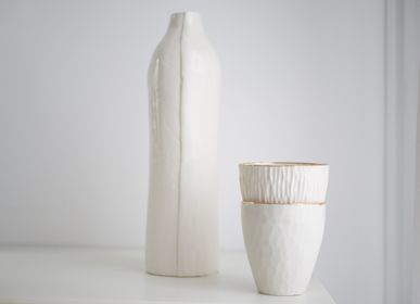Unique pieces - SET OF 2 WHITE OR GREY PORCELAIN CUPS WITH OR WITHOUT GORD EDGE' - MAISON GALA