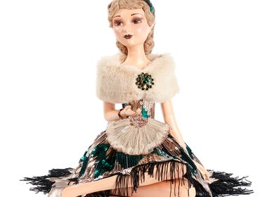 Autres décorations de Noël - ART D.SITT.FLAPPER LADY DOLL W/BOX TT GLD/GRN 38CM - GOODWILL M&G