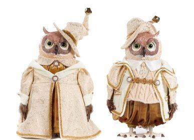 Autres décorations de Noël - POUPÉE HIBOU MAGICIEN ASS/2 CRM/GLD 35CM - GOODWILL M&G