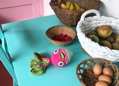 Design objects - HENRY BIG STRIPED RADISH - BABY RATTLE 100% ORGANIC COTON - MYUM - THE VEGGY TOYS