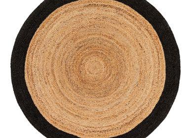 Autres tapis - Tapis rounds jute à bordure contrastée, tissé main - LA MAISON DE LILO
