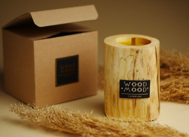 Gifts - UBUD S | Interior wooden candle made of wood, beeswax and natural oils | Perfect gifting size - WOOD MOOD