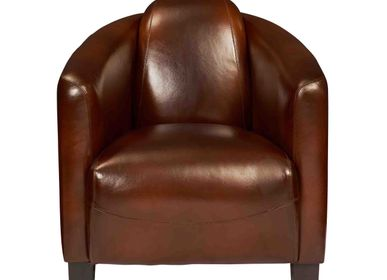 Office seating - Club chair BARQUETTE, cigare vintage leather - DE BEJARRY INTERNATIONAL