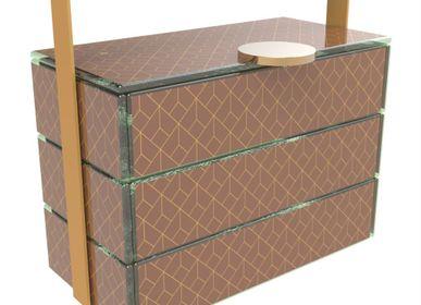 Coffrets et boîtes - Petit panier de pique-nique rectangulaire, marron et doré - MYGLASSSTUDIO