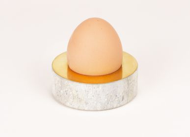Decorative objects - Mustard and egg cup in soapstone and brass - L'INDOCHINEUR PARIS HANOI