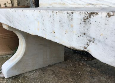 Outdoor decorative accessories - Bench, greek old white marble - SILO ART FACTORY
