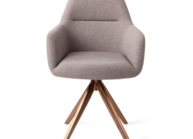 Chairs for hospitalities & contracts - Kinko Dining Chair - Earl Grey, Turn Rose Gold - JESPER HOME