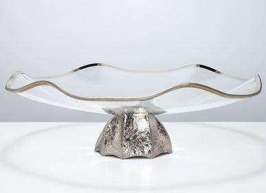 Decorative objects - CAPRICCIO Large Winding Bowl Platinum Finish - VETRERIE DI EMPOLI SRL MILANO