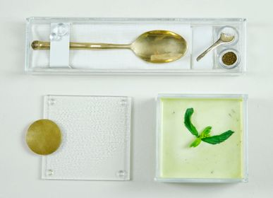 Caskets and boxes - Small Square Bento Box, Soup Bowl - MYGLASSSTUDIO