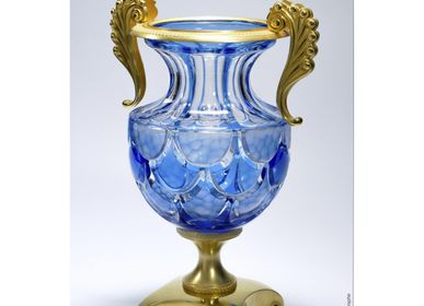 Vases - Cut Crystal Vase - Blue Draped - CRISTAL BENITO