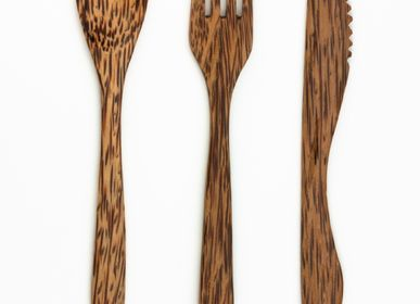 Kitchen utensils - 3 reusable coconut wood cutlery - PANDA PAILLES