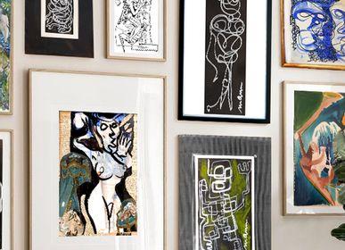 """Paintings - ORIGINAL WORK LINE ART FRAMING """"La Bestiole"""" - L'ATELIER D'ANGES HEUREUX"""