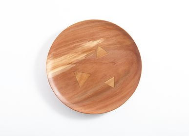 Trays - APPLE WOOD ROUND TRAY - CHITOSE