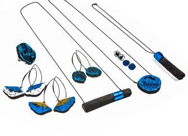 Bijoux - Boucles d'oreilles GIN-BLUE-MIMI-WA & GIN-BLUE-FULI - CHARCOAL ESKIMEÏT