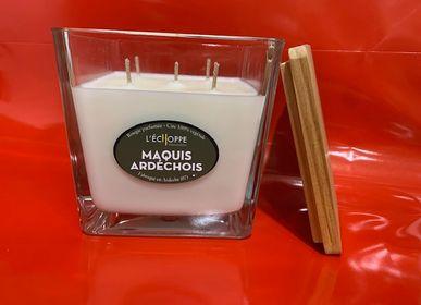 Bougies - Bougies parfumées  pot 12 cm x 12 cm 650 g de  cire 100% végétale soja - L'ECHOPPE BUISSONNIERE