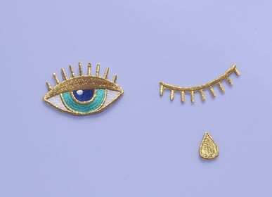 Apparel - Gold Teardrop and Eye Iron-On Patch - MALICIEUSE