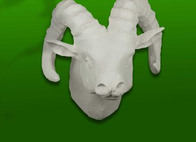 """Other wall decoration - Paper mache white sheep trophy - Sculpture - """"ALFRED"""" - MARIE TALALAEFF"""