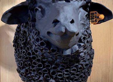 """Unique pieces - Black Sheep Trophy in Papier Mache - Sculpture - """"LE BIGOUDI"""" - MARIE TALALAEFF"""