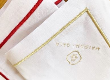 Table linen - STONE WASHED LINEN EMBROIDERED COCKTAIL NAPKINS - MAISON GALA
