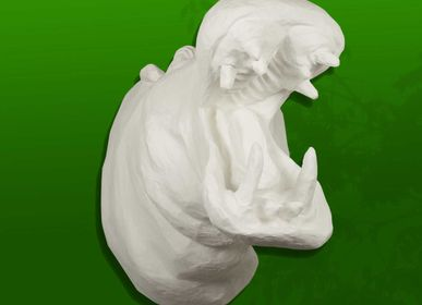 "Other wall decoration - White Hippo Trophy in Papier Mache - Sculpture - ""EMMANUEL"" - MARIE TALALAEFF"