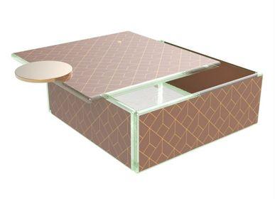 Coffrets et boîtes - Grande boîte à bento carrée, marron et or - MYGLASSSTUDIO