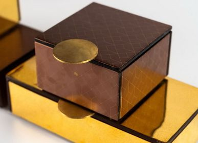 Caskets and boxes - Small Square Bento Box, brown and gold - MYGLASSSTUDIO