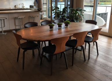 Dining Tables - Oval Walnut Table with Black Waxed Steel Legs - JONATHAN FIELD