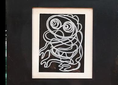 """Tableaux - """"La Bestiole"""" Oeuvre originale Line Art - L'ATELIER D'ANGES HEUREUX"""