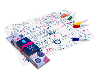 Children's arts and crafts - DREAM VAN:1 silicone mat + 5 markers + 1 bracelet EASY TO WIPE CLEAN - REUSABLE - FROM 3 YEARS OLD - SUPERPETIT