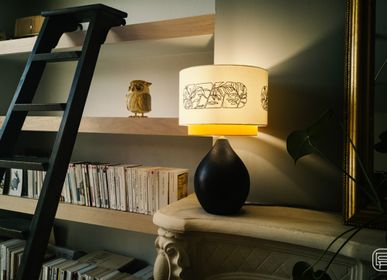 Design objects - Thaïs lamp, Embroidered lampshade - LOU DE PRAY
