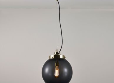 Hanging lights - Medium Globe Pendant, Anthracite & Brass - ORIGINAL BTC