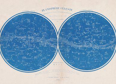 Affiches - AFFICHE I Planisphère céleste sur toile adhésive - LES JOLIES PLANCHES