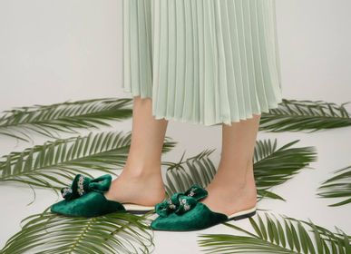 Shoes - Silk velvet Mules with a bow - RXBSHOES