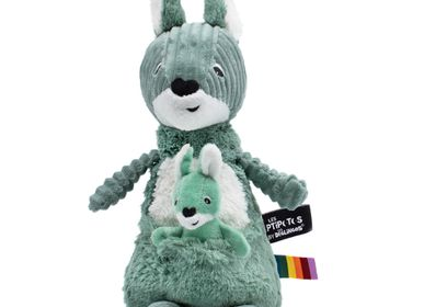 Soft toy - Allezou the Kangaroo & Baby Brown Green - LES DEGLINGOS