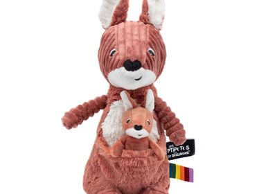 Soft toy - Allezou the Kangaroo & Baby Terracotta - LES DEGLINGOS