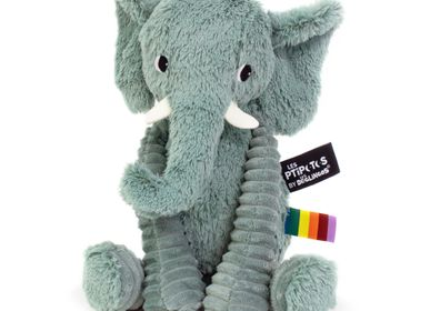 Soft toy - Plush Ptipotos the green Elephant - LES DEGLINGOS