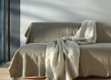 Decorative objects - Tuisku reversible Finnish lamb wool /natural linen blanket - BONDEN