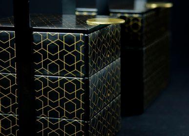 Coffrets et boîtes - Petit panier pique-nique carré, noir et doré - MYGLASSSTUDIO