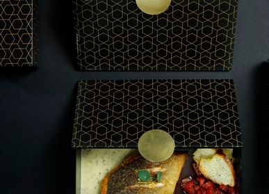 Caskets and boxes - Small Rectangular Bento Box, black and gold - MYGLASSSTUDIO