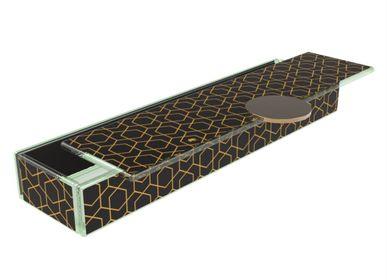 Coffrets et boîtes - Boîte à Bento rectangulaire longue, noir et or - MYGLASSSTUDIO