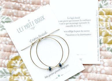"""Bijoux - Créoles Pierre Magique """"Lapis Lazuli"""" - LES MOTS DOUX"""